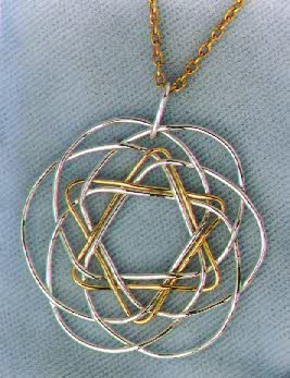 Star of David, Fine Silver and 18K Yellow Gold