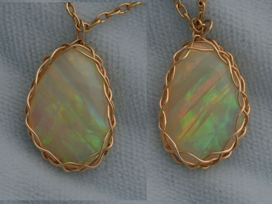 Australian opal, after cutting, polishing, and setting.